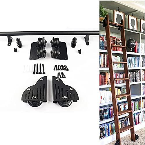 YDYFC Kit de Hardware de Escalera rodante para Biblioteca,Tubo Redondo de Hierro Forjado,riel de Escalera móvil/riel para Loft/hogar/Interior/librería,Puerta corrediza de Granero (sin Escalera)