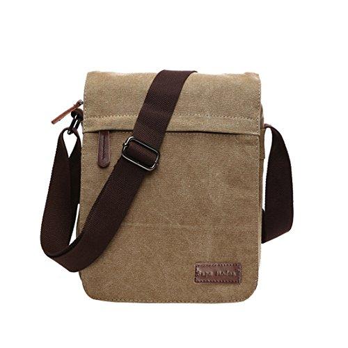 Umhängetasche, geeignet für Laptops (35,6 cm/ 14 Zoll), Bücher, Schule, Arbeit, aus Segeltuch, für Männer und Frauen, Herren, Others, Khaki Small