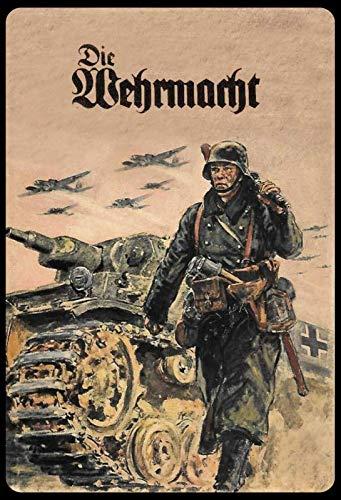 ALIALI KFQCIO 20,3 x 30,5 cm Blechschild The Wehrmacht Soldat Tank Retro Blechschild Wanddekoration Familie Hof Kaffee Bar Restaurant Gas Shop 30,5 x 20,3 cm
