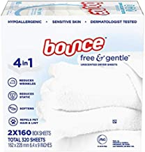 Bounce Free & Gentle Unscented Dryer Sheets, 320 ct.(Bulk Discount Available)