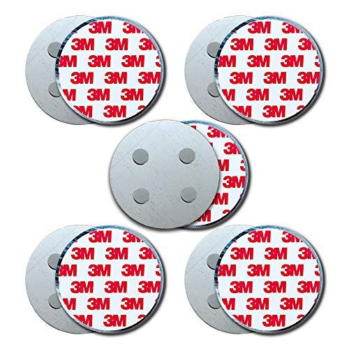 HaftPlus - [5 Stück] Rauchmelder-Magnethalter Ø 70mm, mit 4 extra starken Neodym-Magneten, selbstklebendes 3M Tape für alle Rauch und CO Melder, ohne Bohren für alle Wände und Decken