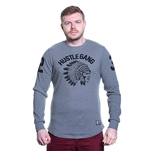 HUSTLE GANG Base Camp Waffle Long Sleeve Thermal in 2 Color Choices 241-8313 (Heather Grey/Black, Medium)