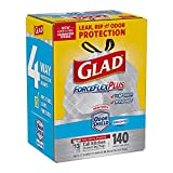 Glad Forceflexplus Tall Kitchen Drawstring Trash Bags, Unscented,13 Gallon, 140 Count