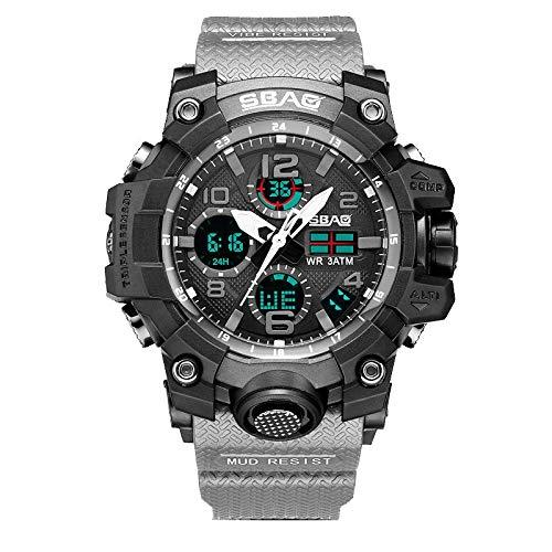 Smniao Digital Uhren Jugendliche Kinderuhren 30m Wasserdicht Sportuhr Analog Armbanduhr mit Wecker Elektronische Handgelenk Uhr Herren (J-Grau)