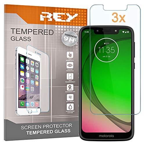 REY 3X Protector de Pantalla para Motorola Moto G7 Play, Cristal Vidrio...