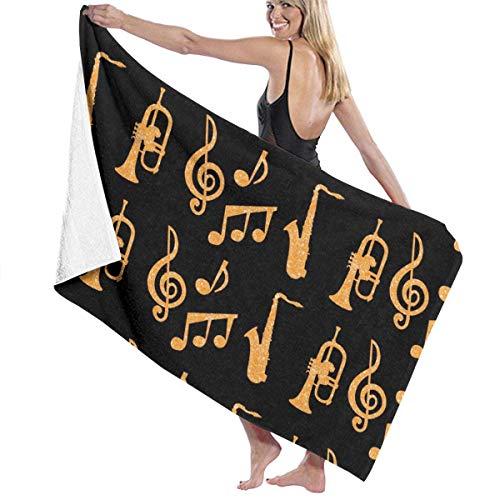 WKLNM Baddoeken: Saxofoontrompetten Muziek Goud Zwart Wasdoekjes 100% Polyester Yoga Handdoek Zeer Absorberende Sauna Handdoek Snelle Droge Badlakens voor Home Hotel Spa - 32x51 inch