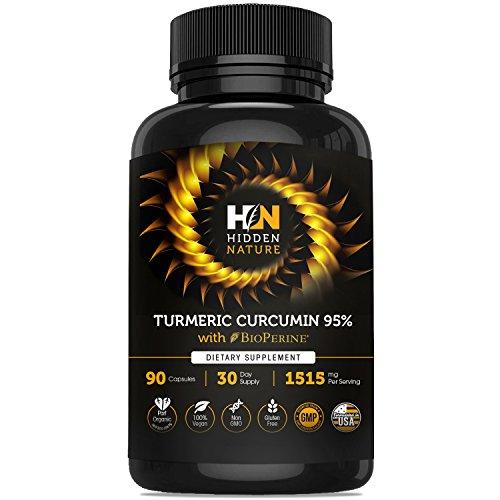 Organic Turmeric Curcumin Capsules Best Pain Relief & Joint Support Black Pepper Organic Turmeric Supplement Pills with Curcuminoids 90 Anti-inflammatory Tablets