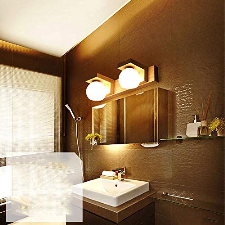 FCX-LIGHT Elegante Led Wandleuchte Innen Glas Modern Wandlampe Aus Holz FüR Wohnzimmer Schlafzimmer Treppenhaus Flur Wandbeleuchtung Innenbeleuchtung,Natural,2Light