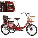 20 Pouces Tricycle Adulte 3 Roues vélo à Propulsion Humaine, Double chaîne Pliable avec Ceinture de sécurité arrière, Panier de Nourriture, Sortie Shopping, Marche, Scooter pour Personnes