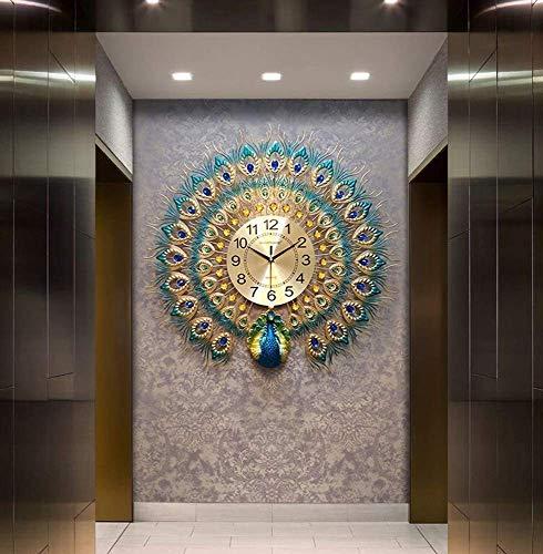 AIOJY Reloj De Pared Sala De Estar Lámpara Colgante Marco 3D Espejo Metal Moderno Decoración Europea para Decoración De Dormitorio