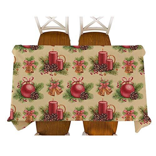 XXDD Mantel Decorativo navideño de Dibujos Animados Santa muñeco de Nieve pingüino Zorro Alce Mantel Cuadrado Rectangular Cubierta de Mesa de Comedor para decoración A2 135x180cm