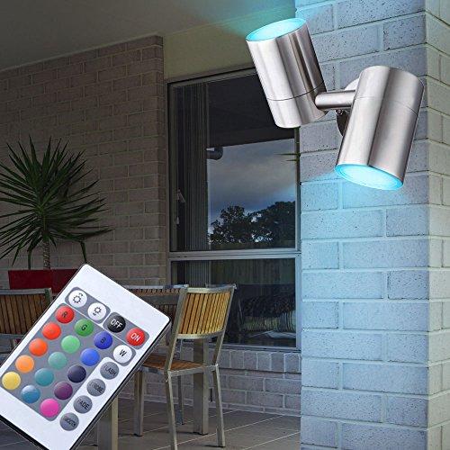 Edelstahl Wand Leuchte Außen Lampe beweglich Fernbedienung im Set inklusive RGB LED Leuchtmittel