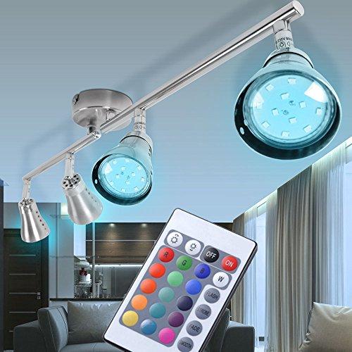 Farbwechsel Decken Strahler dimmbar Lampe Fernbedienung im Set inklusive RGB LED-Leuchtmittel