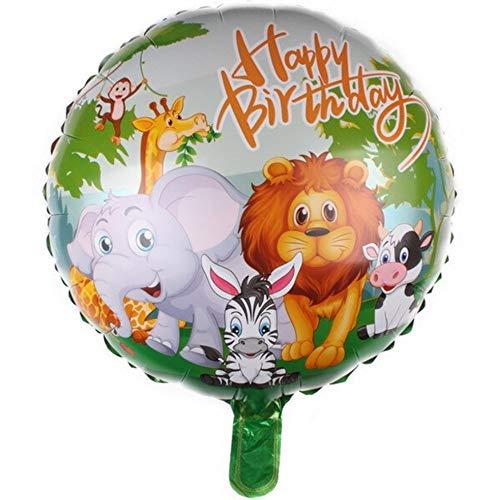 DIWULI, Geburtstags Luftballon Happy Birthday, Folien-Luftballon, Geburtstagsballon, Folien-Ballon Tiere für Geburtstag, Mädchen Junge Kindergeburtstag Party, Dekoration, Geschenk-Deko, Löwe, AFFE