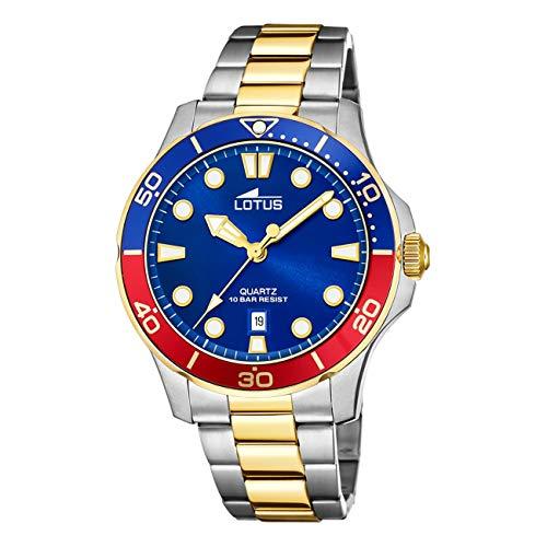 LOTUS Reloj Modelo 18760/4 de la colección Excellent, Caja de 44,5 mm Azul con Correa de Acero Bicolor para Caballero