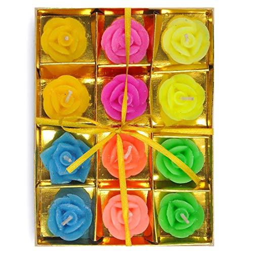 Spiritual World Diwali Dekoration 12 Pc. Multicolor-Rosen-Entwurf Schwimmkerze Set