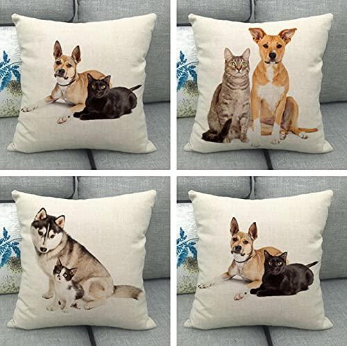 JOVEGSRVA Juego de 4 fundas de cojín decorativas de lino para el hogar, oficina, sofá, coche, jardín, 45 x 45 cm, color gris