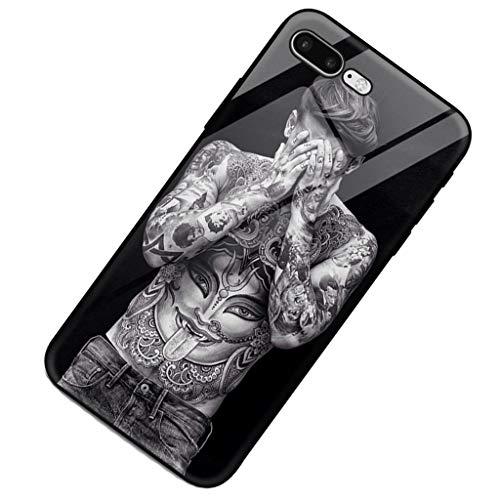 iPhone Tattoo Glasspiegel Schönheit Persönlichkeit Sexy Beauty Glas 7p 8p All Inclusive Schutzhülle Männer Telefon Shell Schwarz (Color : Black, Size : 14.36 * 7.09 * 0.77CM)