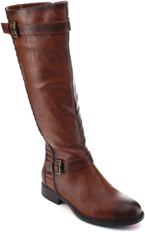 De Blossom Collection Pita-33 Women Buckle Strap Elastic Knee High Riding Boots,Cognac,5.5