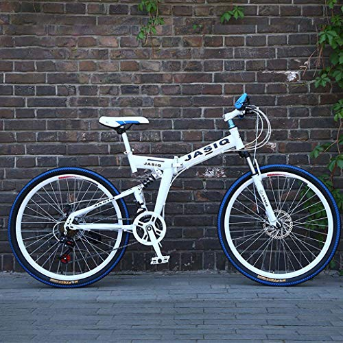 ZTYD Las Bicicletas de montaña, Bicicleta Plegable 26 Pulgadas Suspensión de Doble Freno de Disco Completo Antideslizante, Variables bicis de Carreras de Velocidad para Hombres y Mujeres