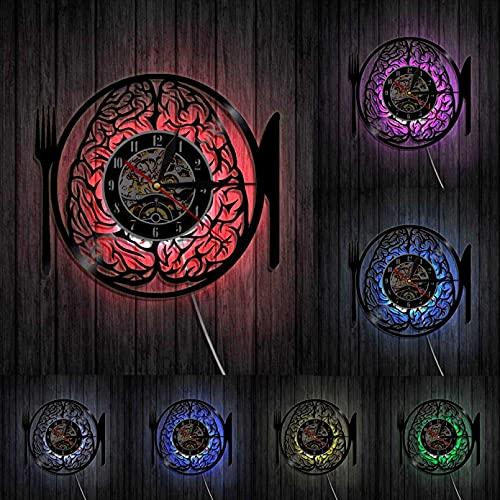 NVVV Reloj de Pared de Vinilo, no te Comas mi Cerebro, Cuchillo y Tenedor, Disco de Vinilo, Obra de Arte de diseño, Reloj de Pared 3D, decoración de la Sala de Estar