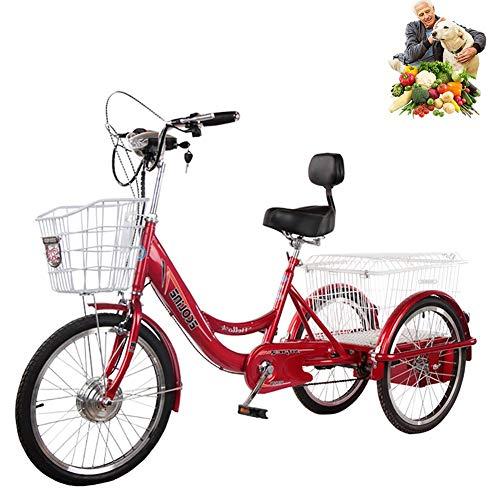 20 '' Triciclo elettrico adulto 3 ruote triciclo con cestino per anziani Batteria al litio 48V20AH trasmissione a tre velocità uscita, shopping, comode biciclette per uomo e donna con schienale
