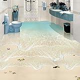 Playa Ola Del Mar Foto Papel De Pared 3D Azulejos Para El Suelo Murales Etiqueta De Baño Impermeable Autoadhesivo De Vinilo 3D Wallpape-250 * 175 Cm