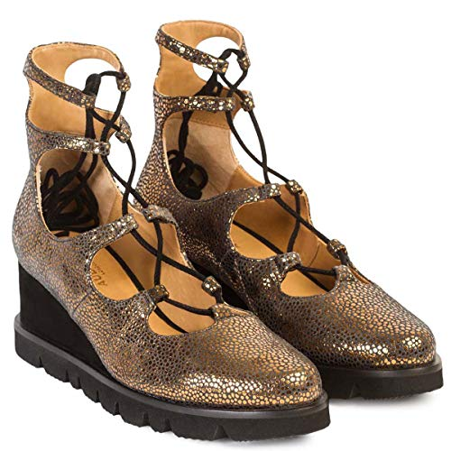 Zapato con Plataforma Flatform ALONDRA | Sandalias Abotinadas con Plataforma Mujer Piel Metalizada | Cordones Cruzados y Terminados en Punta | Suela Bloque Goma | Forro Piel Natural | Talla 38