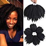 6Packs Marley Hair for Twists 8Inch Short Braiding Hair Afro Kinky Twist Crochet Braids Synthetic Fiber Hair Extensions for Women(1B#)