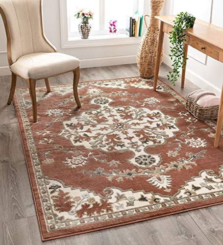 Well Woven Sasha Brick Red Traditional Oriental Medallion Pattern Area Rug 4x6 (3'11' x 5'3')