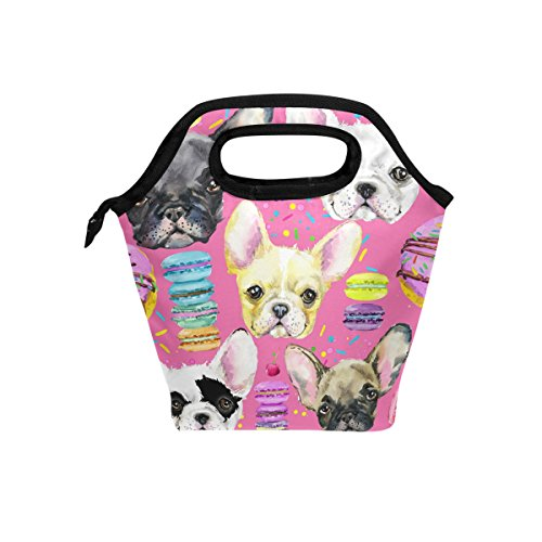 BETTKEN Lunch Bag Animal Dog French Bulldog Insulated Reusable Lunch Box Portable Lunch Tote Bag Meal Bag Ice Pack for Boys Girls Adult Women
