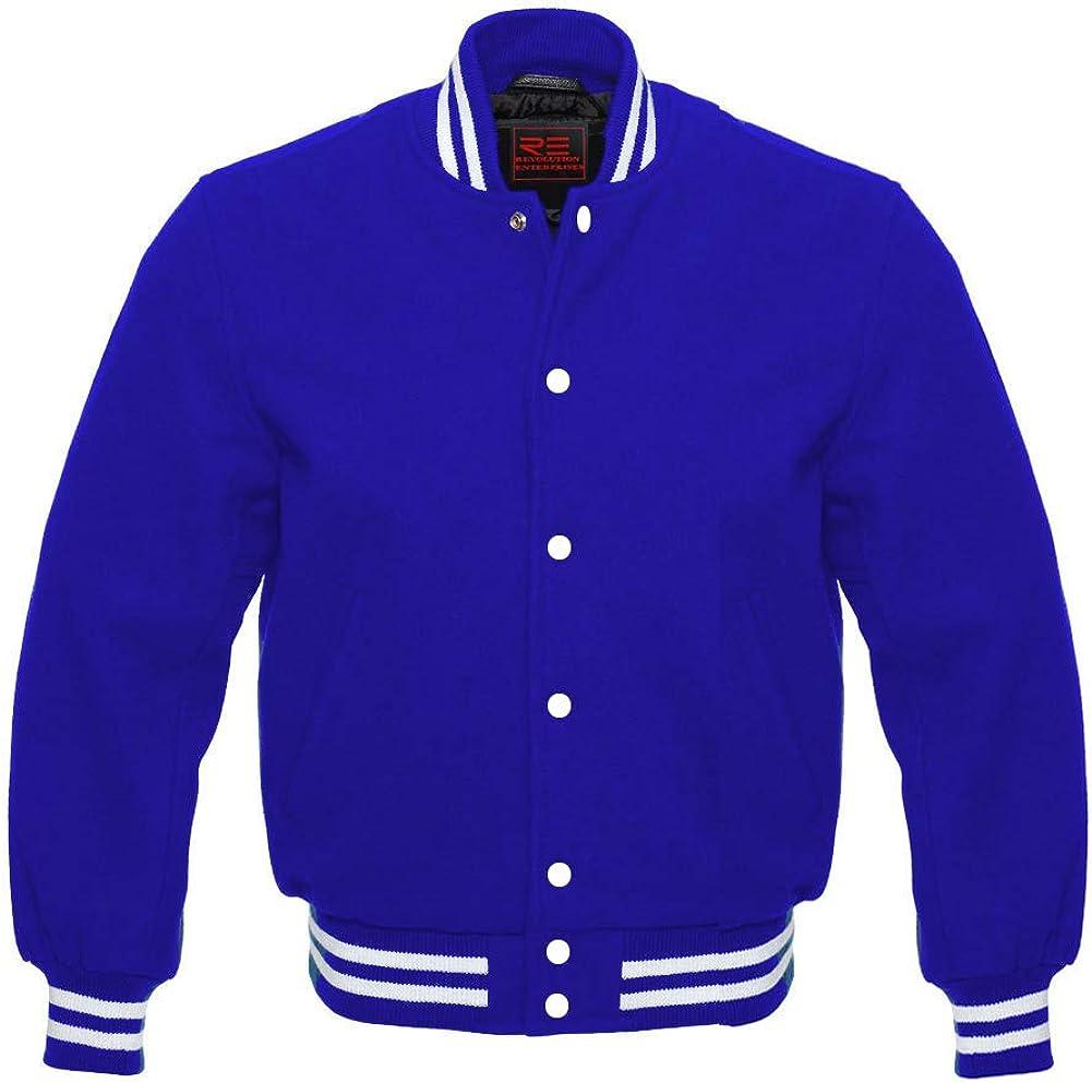 Revolution Enterprises Letterman Baseball College School Varsity Jacket Bomber Style All Wool Jacket