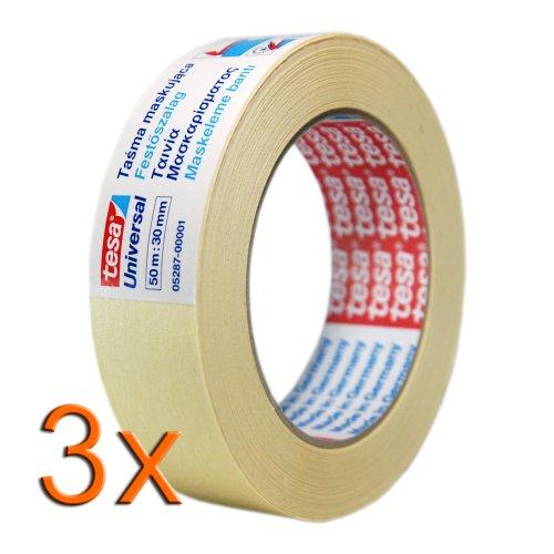 3x tesa Heimwerker Kreppband / Maler Krepp Universal, je 50m x 30mm / Beige / Abklebeband / Klebeband für Renovierungsarbeiten