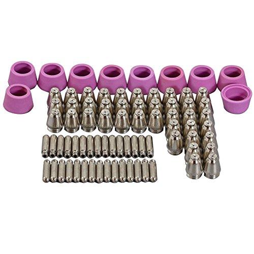 80 Stück Plasmaschneider Schneiddüse Ø0,9mm 40Amp Elektrode Keramikdüse AG60 SG55 Plasma-Schneidbrenner Ersatzteileset Für CUT-60 70 80 Plasmaschneider