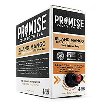 Promise Beverages Slightly Sweet Island Mango Cold Brew Tea On Tap  1 Gallon / 128 fluid ounces  Rainforest Alliance Certified Bag In Box Liquid Ready To Drink Sweetened with Stevia