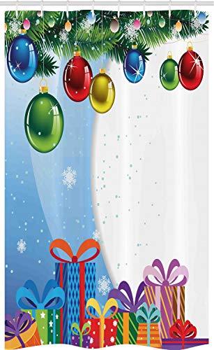 ABAKUHAUS Kerstmis- Douchegordijn, Surprise Boxes Ballen, voor Douchecabine Stoffen Badkamer Decoratie Set met Ophangringen, 120 x 180 cm, Veelkleurig