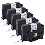 Anycolor Compatible Label Tape Replacement for Brother P-touch Label Tape Clear TZe-131 (TZ-131) 12mm 0.47 Inch Laminated Black on Clear TZe Tape Work with Brother PT-D210 PTH110 PTD400 PTD600, 5-Pack