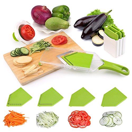 Gemüsehobel Küchenhobel Rostfreiem Stahl Mandoline Gemüseschneider, 4 in 1 Uten Profi Gemüsereibe Abnehmbar Kartoffelschneider für Gemüse und Obst, Pflanzliche Slicer, Sicher Schnell und gleichmäßig