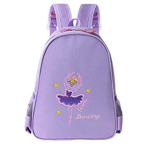 BAOHULU Toddler Backpack Ballet Dance Bag 9 Colors for Girls 2-8 Year (Purple)