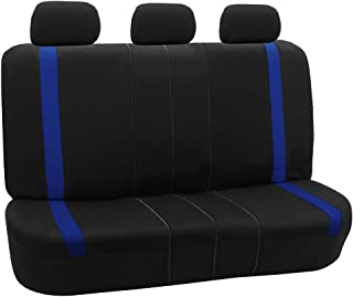 FH Group FH-FB054013 Blue Cosmopolitan Flat Cloth Seat Covers, Airbag Compatible and Split Bench, Blue/Black Color-Fit Most Car, Truck, SUV, or Van