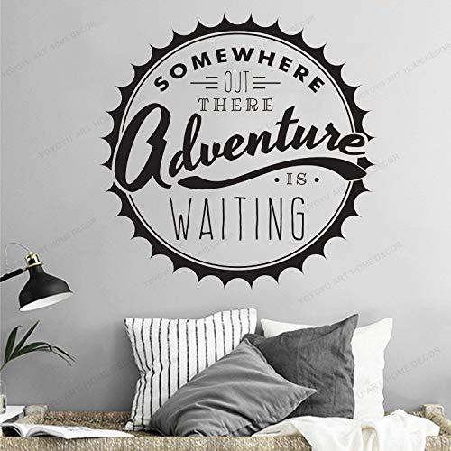 wZUN Aventura en algún Lugar Esperando una Cita decoración del hogar Etiqueta de la Pared Vinilo Arte Mural 63X63cm