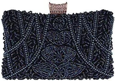 Women's Evening Handbags Ladies Dinner Clutch Evening Gift Bag New Beaded Small Square Bag (Color : Blue)