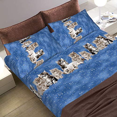 lenzuola matrimoniali completo in cotone alta qualità set lenzuola sotto con angoli matrimoniale, sopra maxi e federe modello GATTI BLU