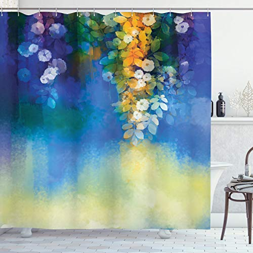 Ambesonne Watercolor Flowers Decor Collection, Spring Flowers Leaves Seasonal Nature Watercolor Painting, Polyester Fabric Bathroom Shower Curtain Set with Hooks, Navy Blue Orange Yellow