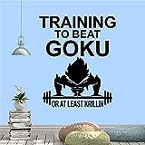 Anime Cartoon Dragon Ball Barbell Training Muscle Goku GYM Fitness Workout Etiqueta de la pared Calcomanía de vinilo Dormitorio Sala de estar Club Studio Decoración para el hogar Mural