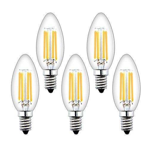 Luxvista 4W E14 C35 Candela Lampadine a filamento LED Dimmerabile Bianco Caldo 2700K 350LM 40W Equivalente a incandescenza, C35 Piccole lampadine a vite Edison (SES) (5-Pezz