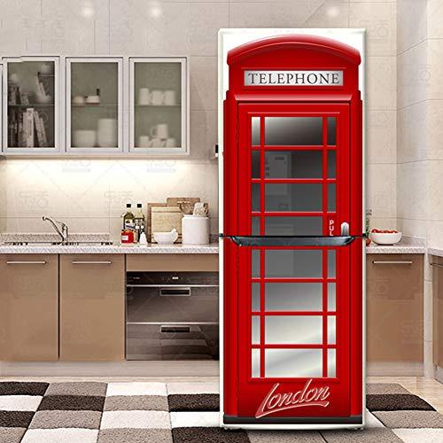 Angle&H Inghilterra Rosso Telefono Cabina Adesivi Frigorifero Cura Etichetta Frigo Contento Delizioso Viso Cucina Arte Adesivi murali Arredamento,60x180cm(23.6''x70.8'')