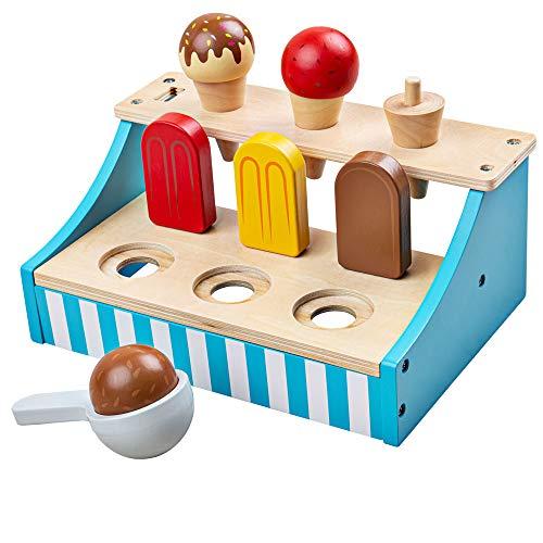 Bigjigs Toys Soporte de helado de madera   Alimentos de juego de madera