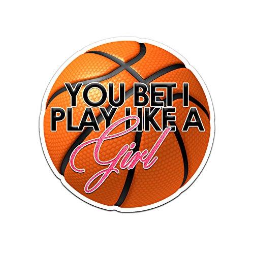 Decal slang u wedden dat ik speel als een meisje basketbal kleur Vinyl sport auto Laptop Sticker - 6