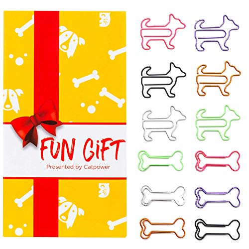 60Pcs Cute Dog and Bones Paper Clips, Dog Lover Gifts for Women, Cute Dog Office Supplies, Office Desk Accessories for Work School Office, Animal Gifts for Women Coworkers Dog Lovers
